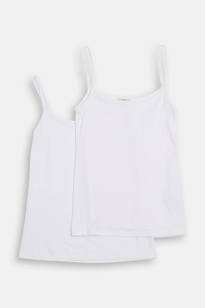 Double pack of strappy tops, WHITE, detail image number 5