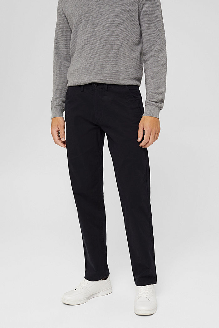 Straight chinos in organic cotton, BLACK, detail image number 0