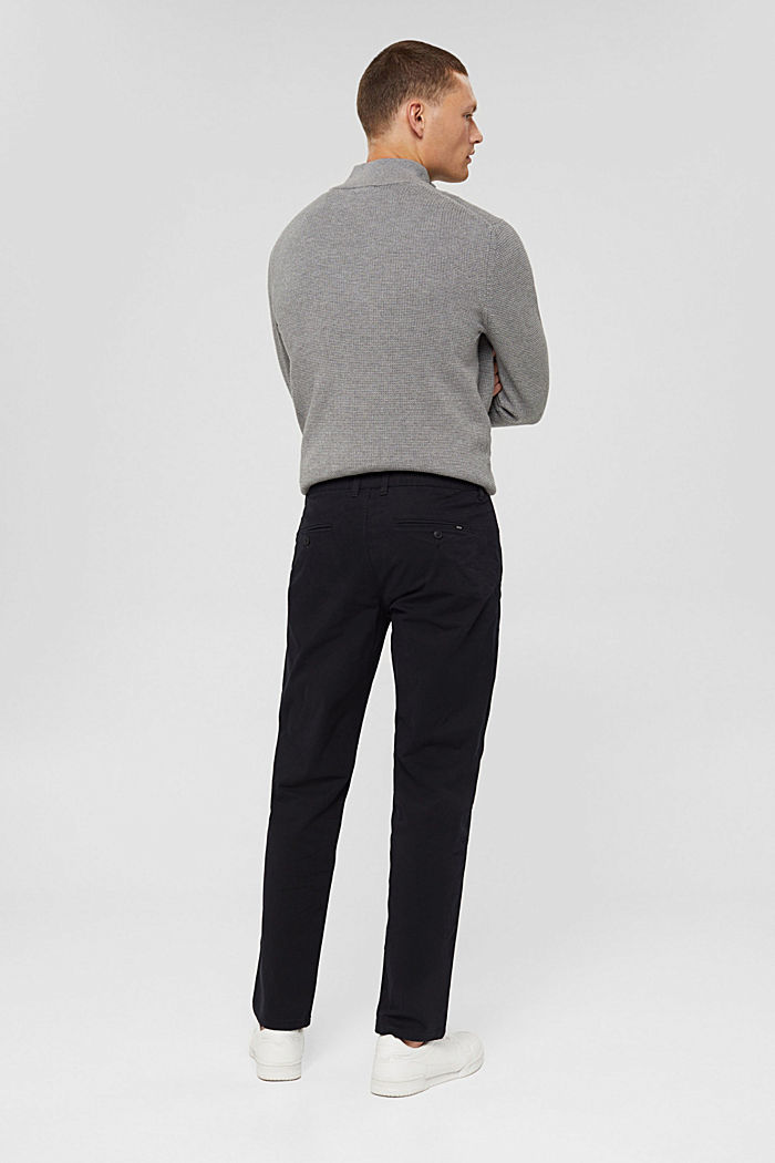 Straight chinos in organic cotton, BLACK, detail image number 3