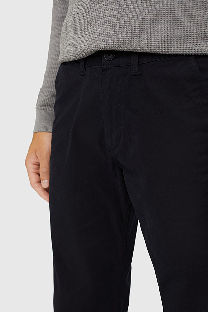 Straight chinos in organic cotton, BLACK, detail image number 2
