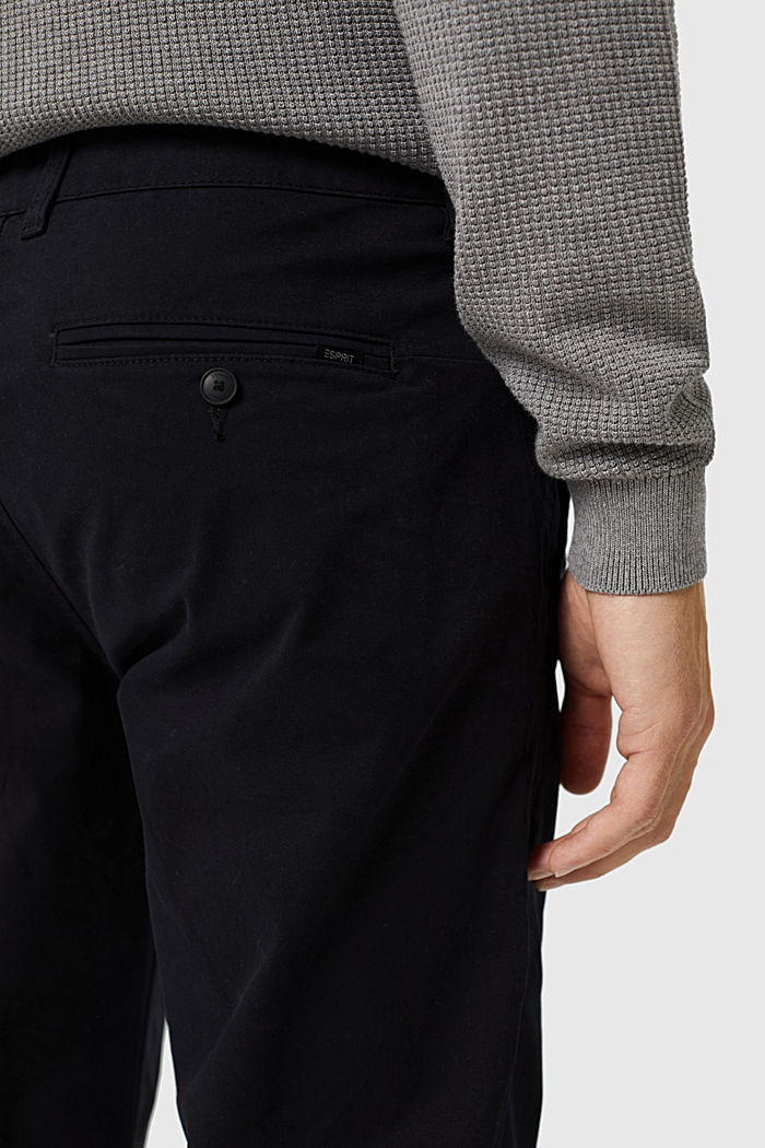 Straight chinos in organic cotton, BLACK, detail image number 5