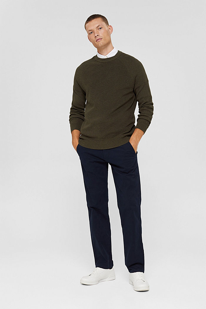 Straight chinos in organic cotton, NAVY, detail image number 1