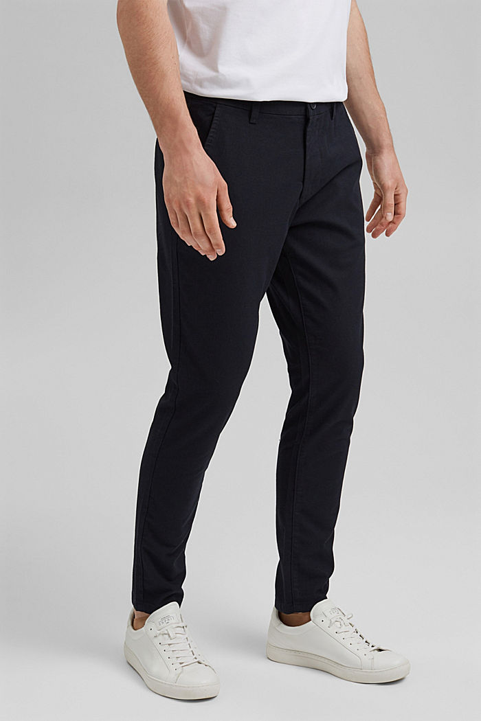 Two-tone suit trousers made of blended cotton, NAVY, detail image number 0