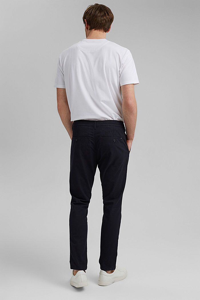 Two-tone suit trousers made of blended cotton, NAVY, detail image number 3