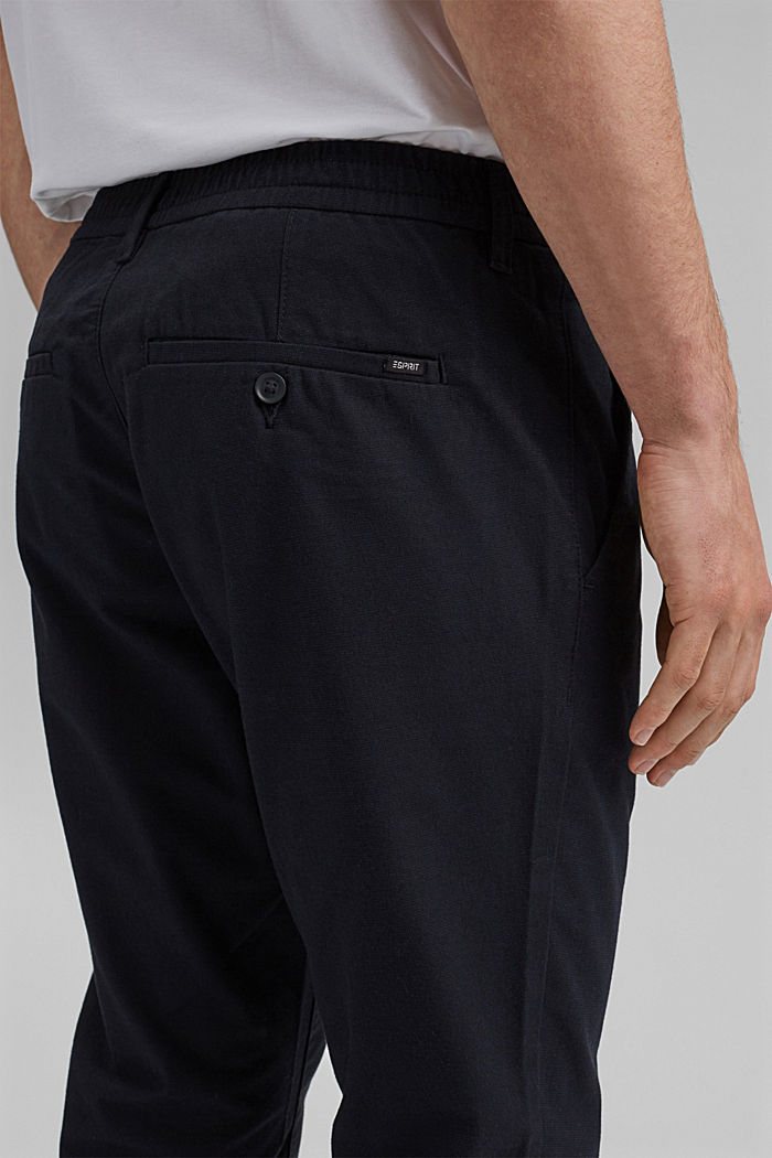 Two-tone suit trousers made of blended cotton, NAVY, detail image number 2