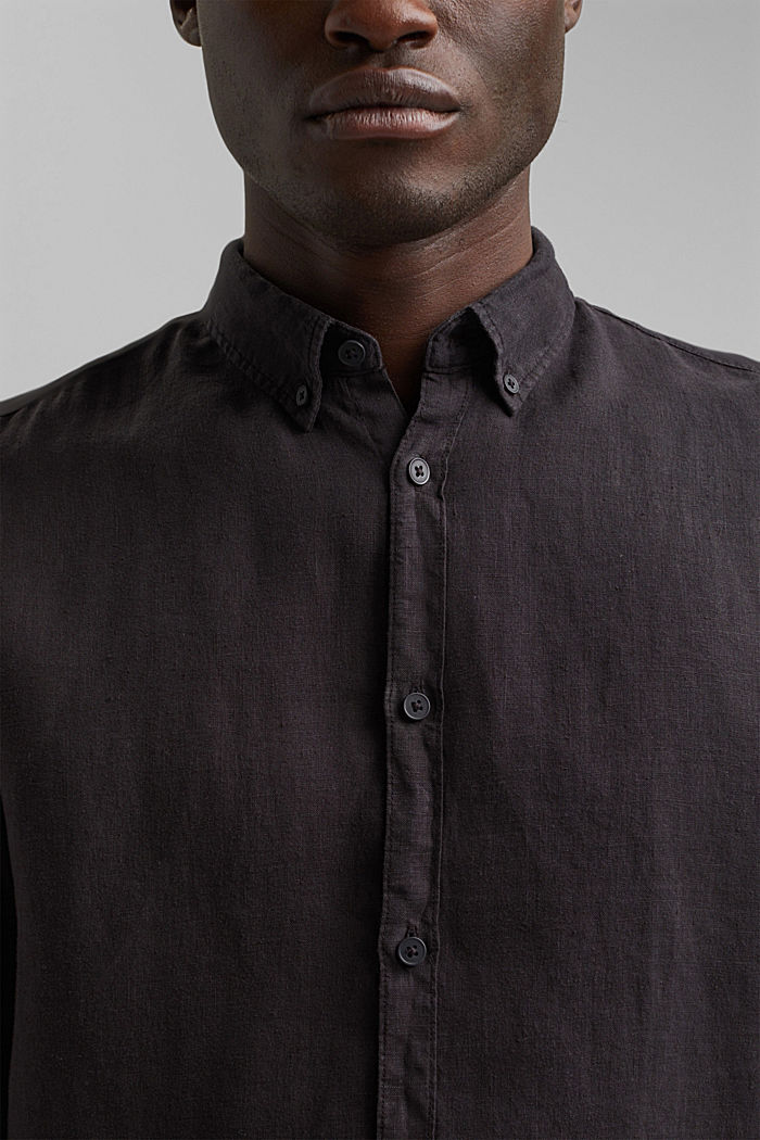 Button-down shirt made of 100% linen, BLACK, detail image number 2