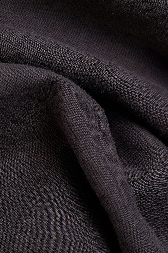 Button-down shirt made of 100% linen, BLACK, detail image number 4