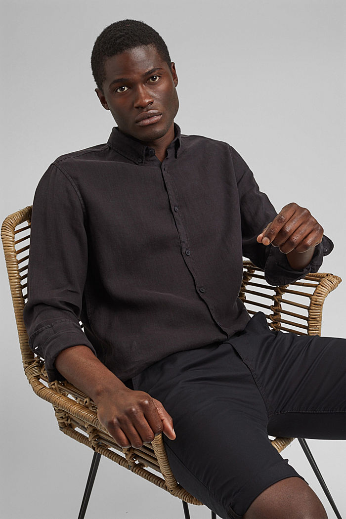 Button-down shirt made of 100% linen, BLACK, detail image number 5