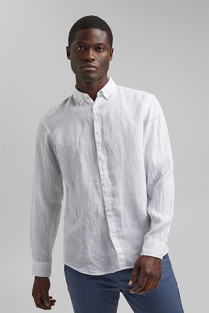 Button-down shirt made of 100% linen, WHITE, detail image number 0