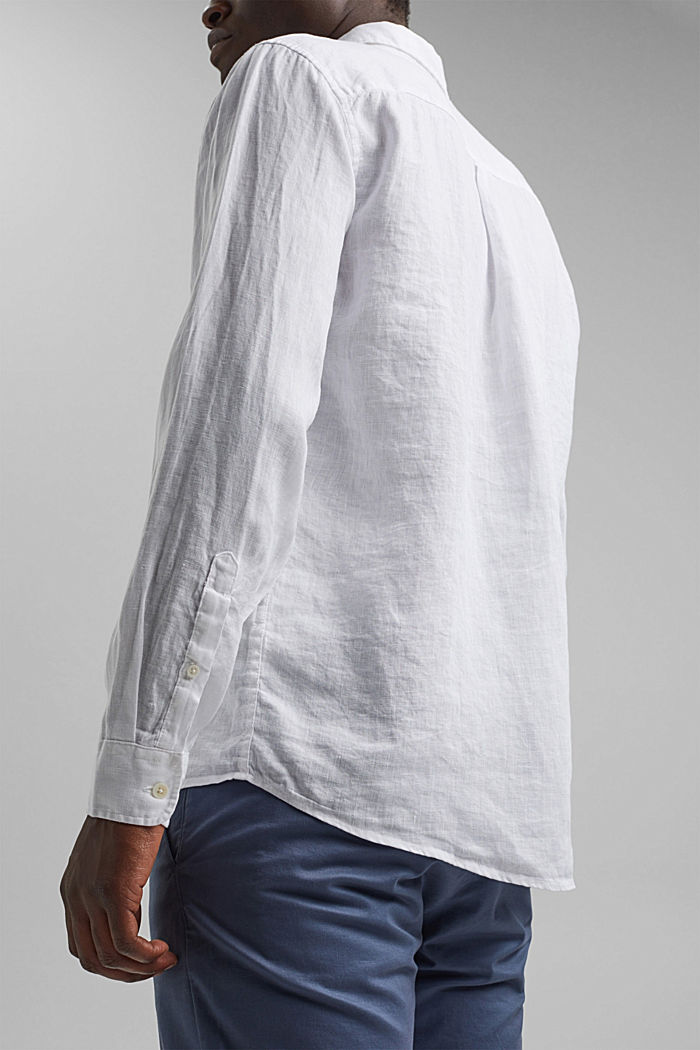 Button-down shirt made of 100% linen, WHITE, detail image number 5