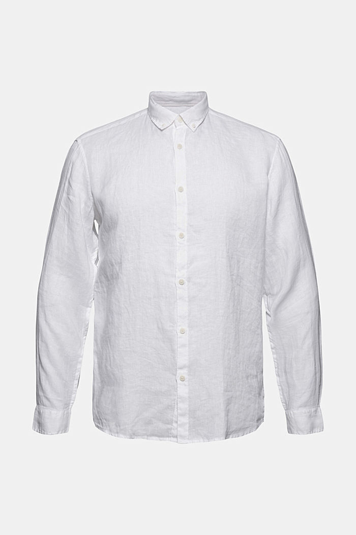 Button-down shirt made of 100% linen, WHITE, detail image number 8