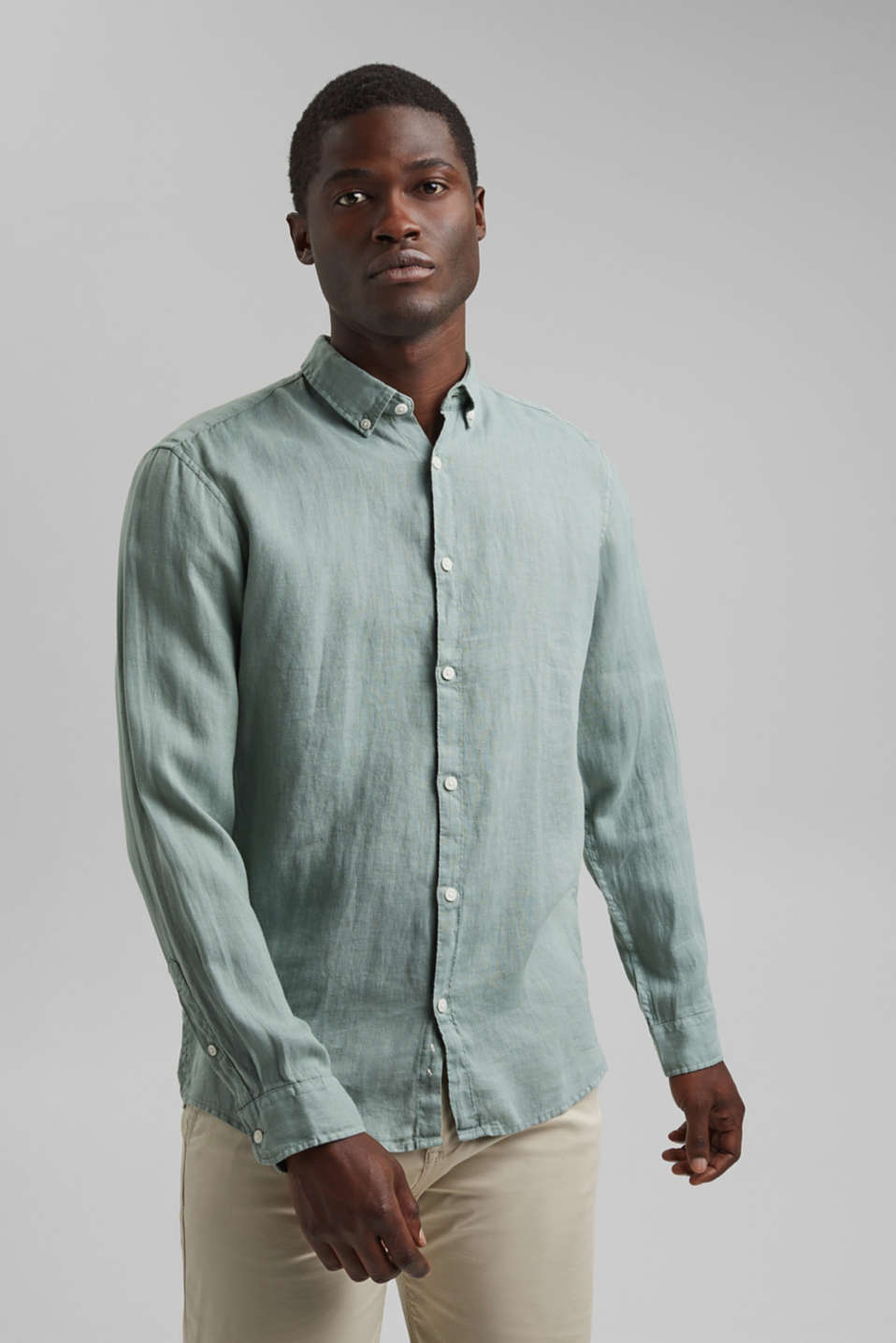 Esprit - Button down-skjorte i 100% hør