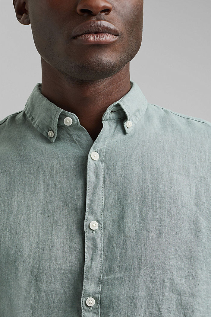 Button-down shirt made of 100% linen, LIGHT KHAKI, detail image number 2