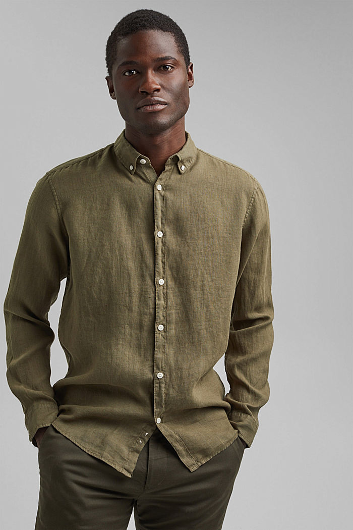 Button-Down-Hemd aus 100% Leinen, DARK KHAKI, detail image number 0
