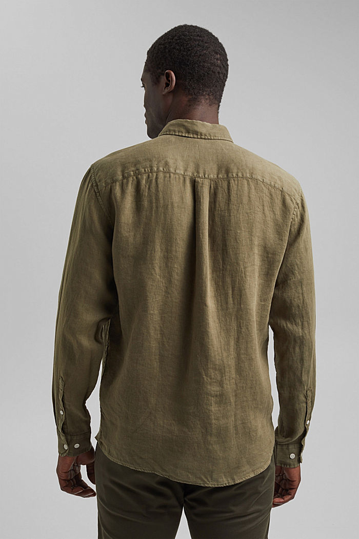 Button-Down-Hemd aus 100% Leinen, DARK KHAKI, detail image number 3