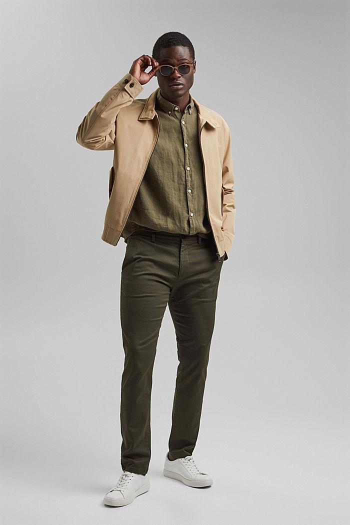 Button-down shirt made of 100% linen, DARK KHAKI, detail image number 1