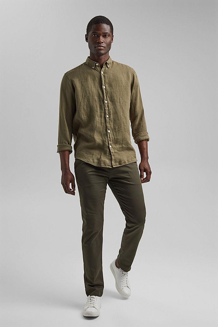 Button-Down-Hemd aus 100% Leinen, DARK KHAKI, detail image number 6