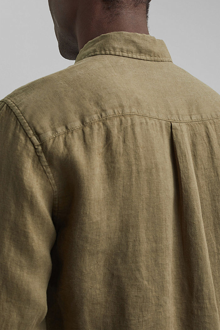 Button-Down-Hemd aus 100% Leinen, DARK KHAKI, detail image number 2