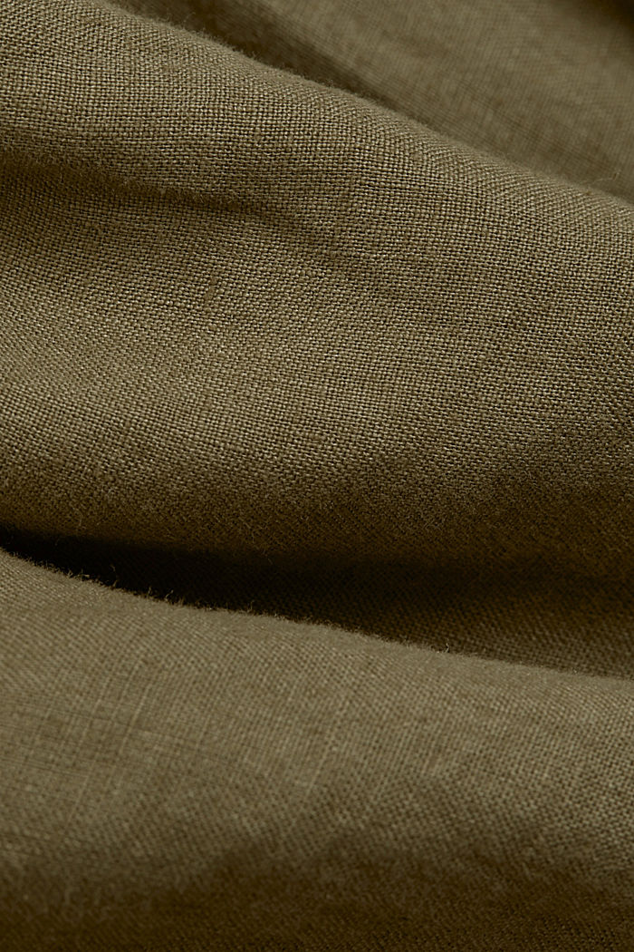 Button-Down-Hemd aus 100% Leinen, DARK KHAKI, detail image number 4