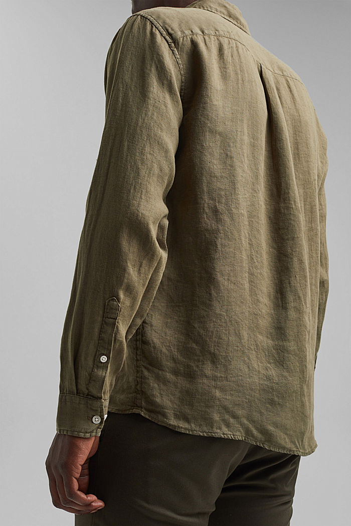 Button-Down-Hemd aus 100% Leinen, DARK KHAKI, detail image number 5