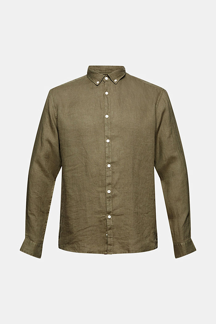 Button-Down-Hemd aus 100% Leinen, DARK KHAKI, detail image number 7