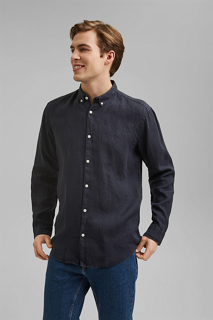 Button-down shirt made of 100% linen, NAVY, detail image number 0