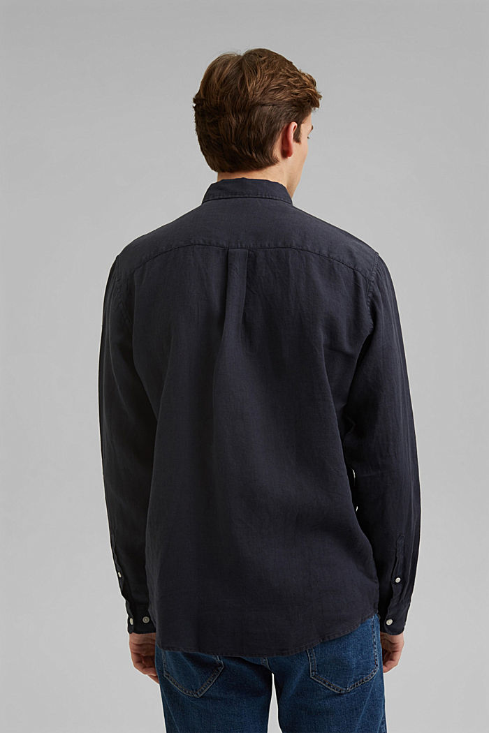 Button-down shirt made of 100% linen, NAVY, detail image number 3