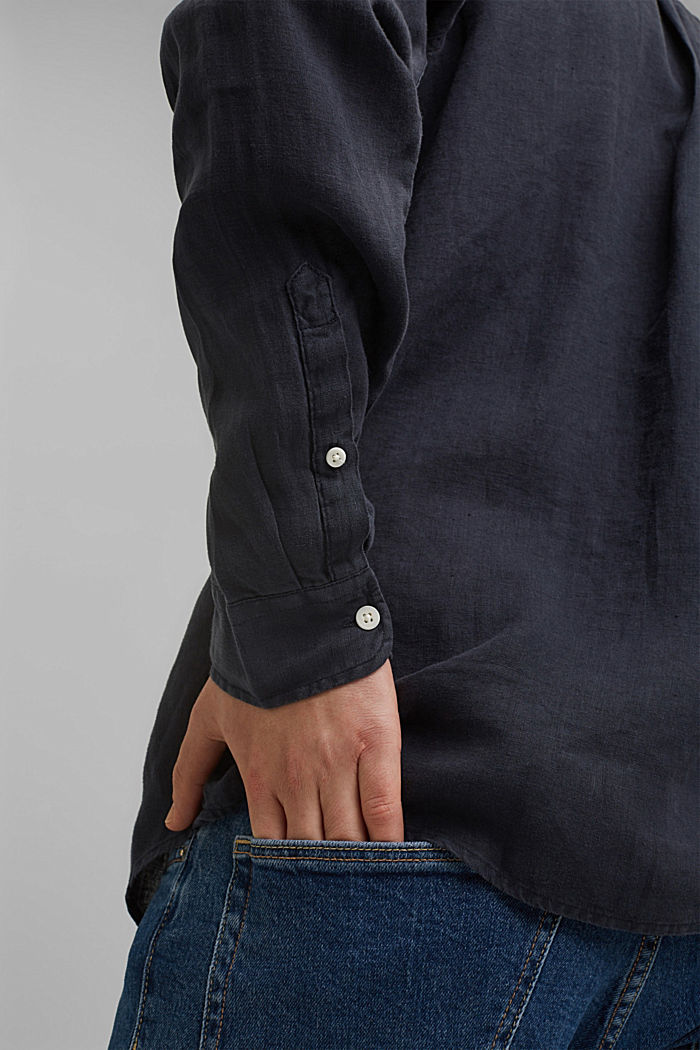 Button-down shirt made of 100% linen, NAVY, detail image number 2