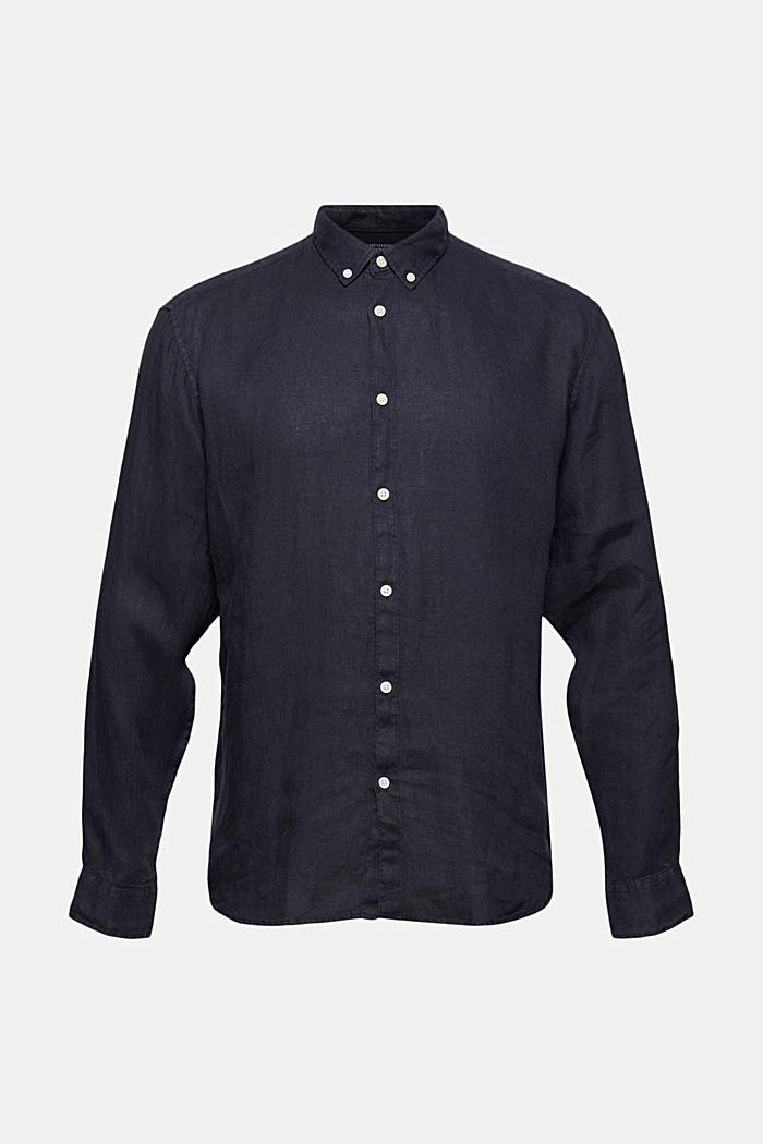 Chemise à col boutonné, 100% lin