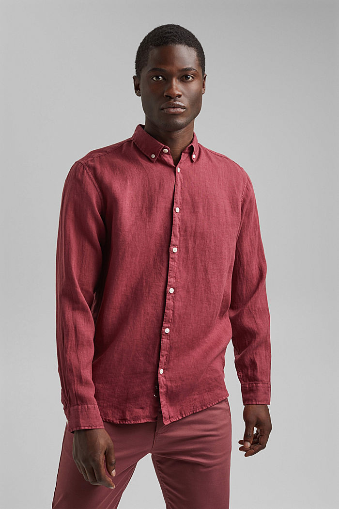 Button-down shirt made of 100% linen, BERRY RED, detail image number 0