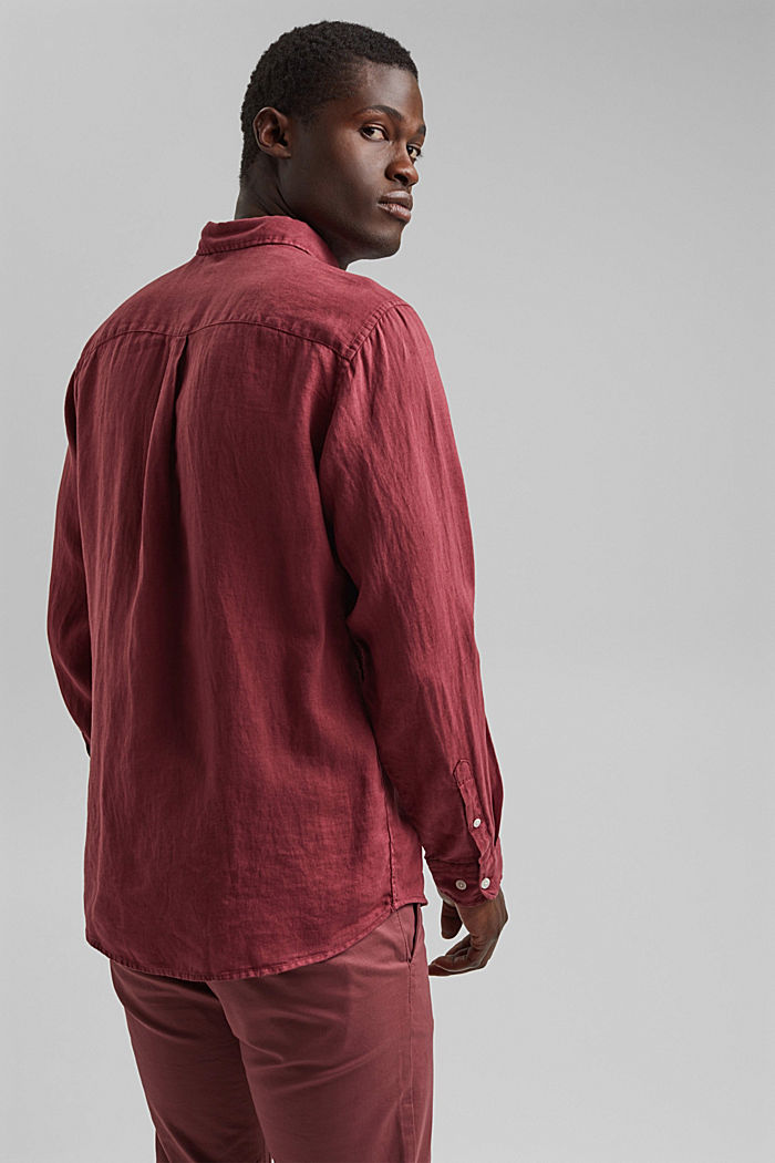 Button-down shirt made of 100% linen, BERRY RED, detail image number 3