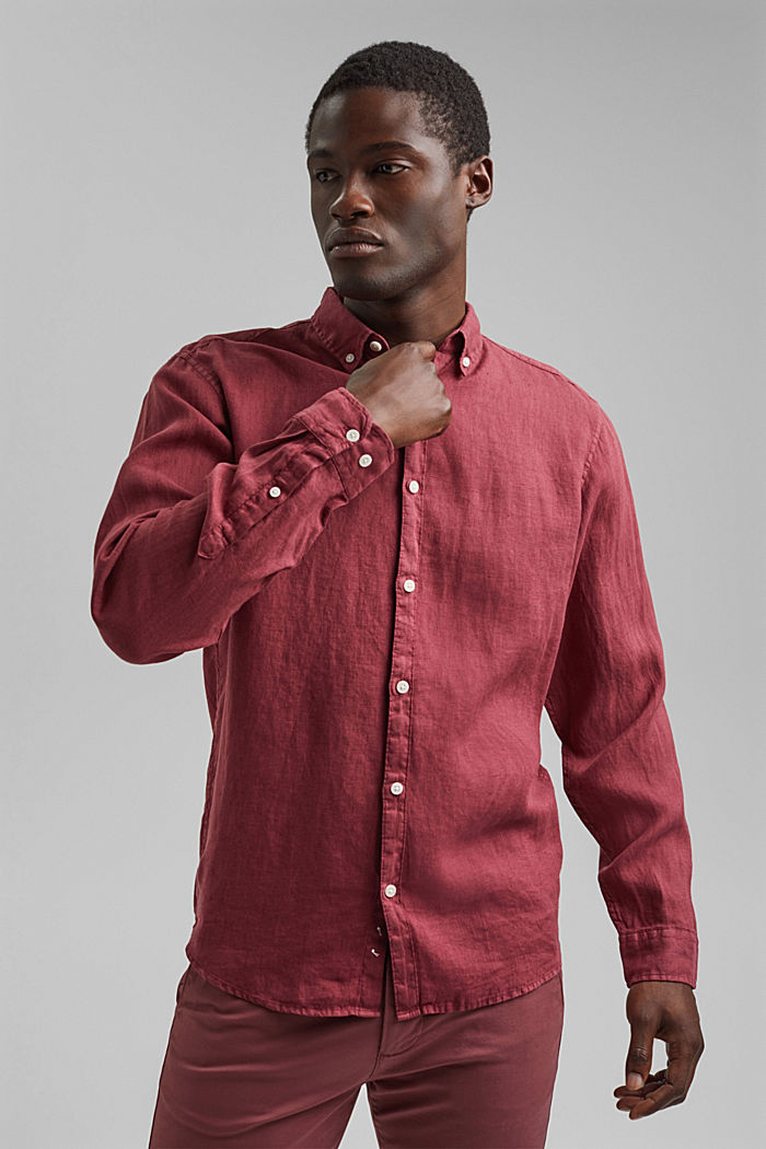 Button-down shirt made of 100% linen, BERRY RED, detail image number 5