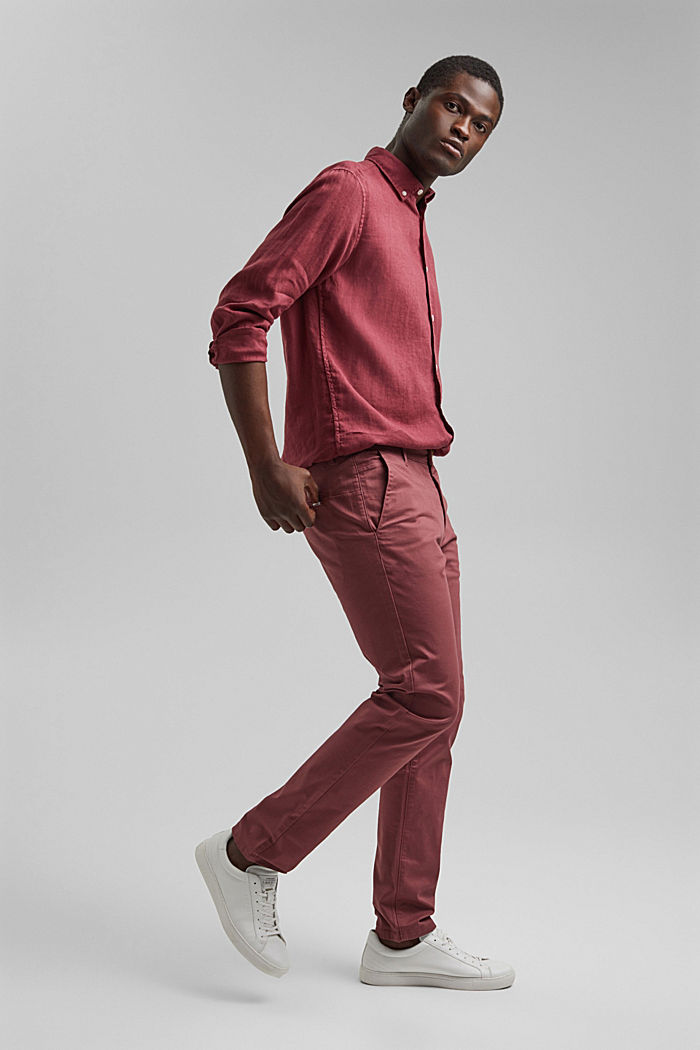 Button-down shirt made of 100% linen, BERRY RED, detail image number 1