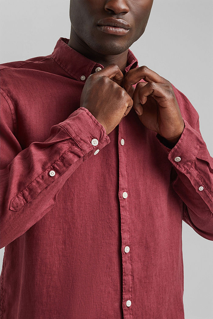 Button-down shirt made of 100% linen, BERRY RED, detail image number 2