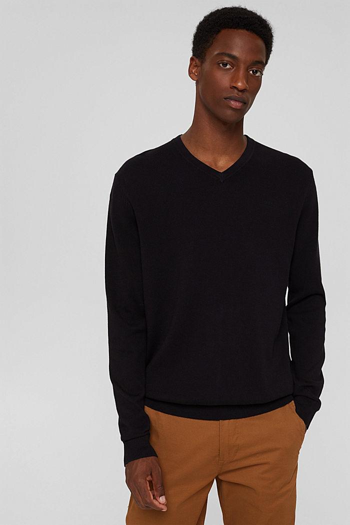 Pull-over basique, 100% coton Pima, BLACK, detail image number 0