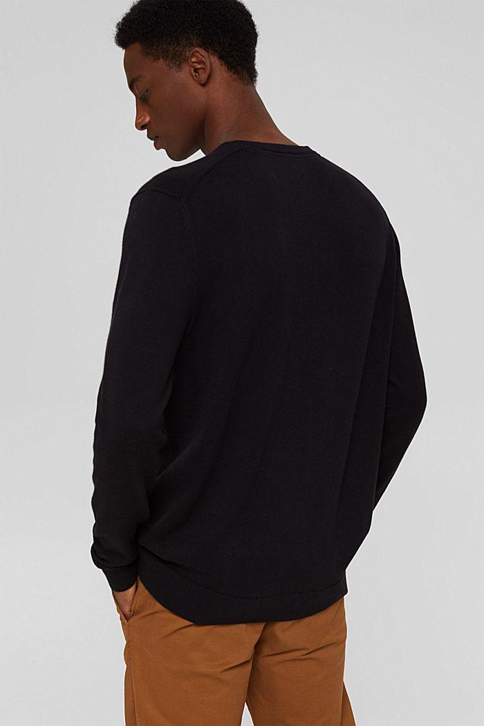 Pull-over basique, 100% coton Pima, BLACK, detail image number 3