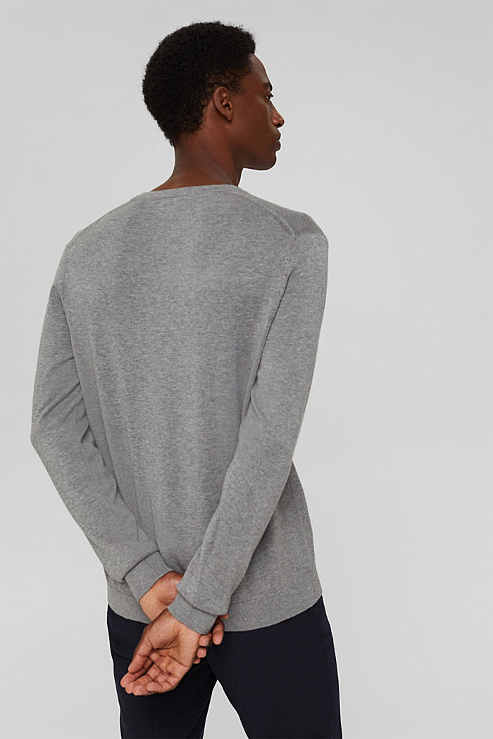 Basic jumper made of 100% Pima cotton, MEDIUM GREY, detail image number 3