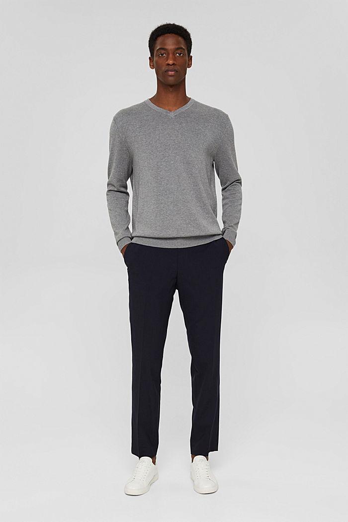 Basic jumper made of 100% Pima cotton, MEDIUM GREY, detail image number 1