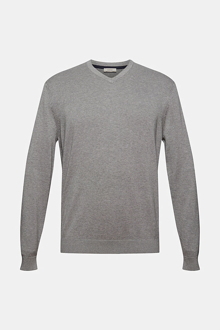 Basic jumper made of 100% Pima cotton, MEDIUM GREY, detail image number 5