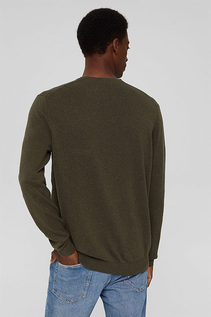 Pullover basic in 100% cotone Pima, DARK KHAKI, detail image number 3