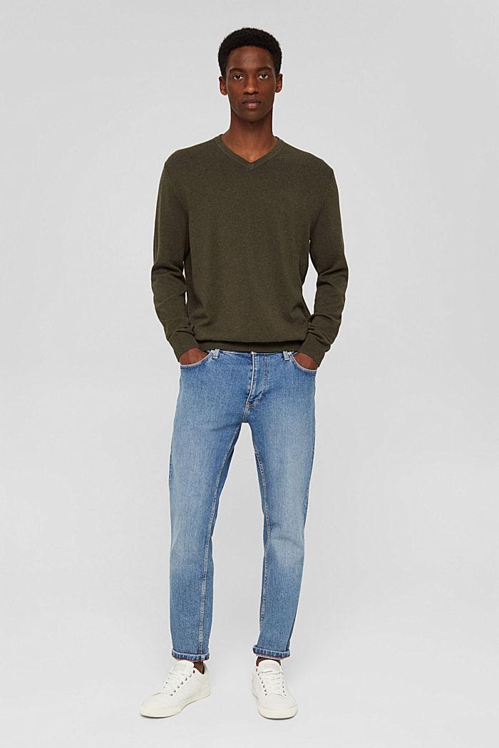 Pullover basic in 100% cotone Pima, DARK KHAKI, detail image number 6