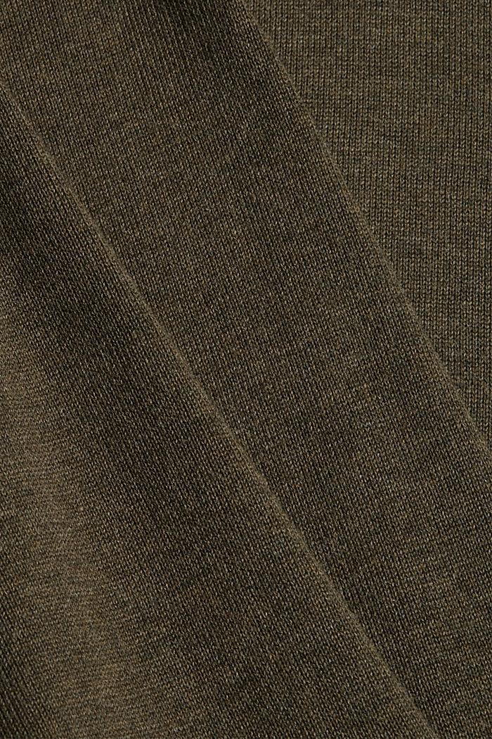 Pullover basic in 100% cotone Pima, DARK KHAKI, detail image number 4
