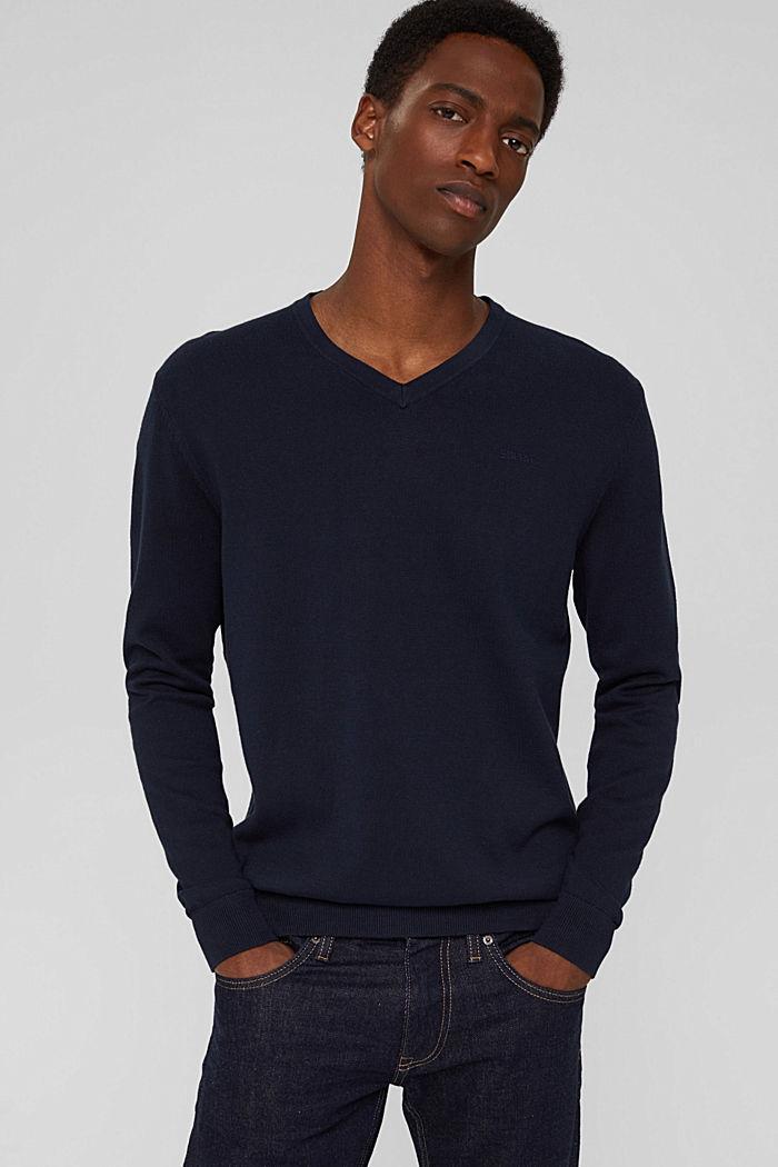 Basic jumper made of 100% Pima cotton, NAVY, detail image number 0