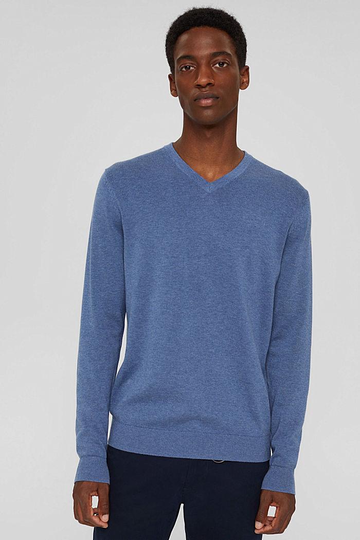 Pull-over basique, 100% coton Pima, BLUE, detail image number 0