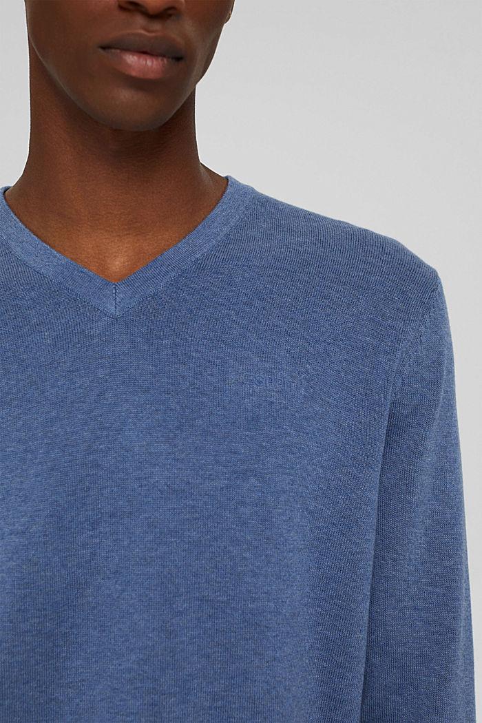 Pull-over basique, 100% coton Pima, BLUE, detail image number 2