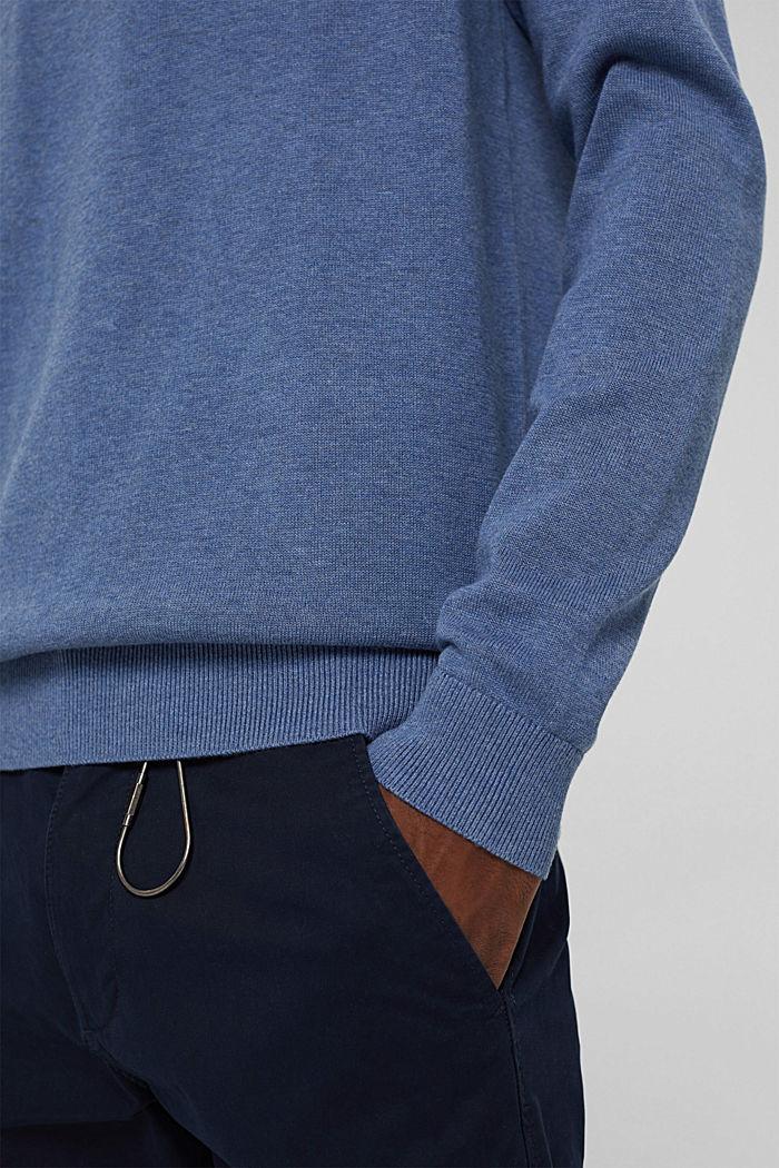 Pull-over basique, 100% coton Pima, BLUE, detail image number 5