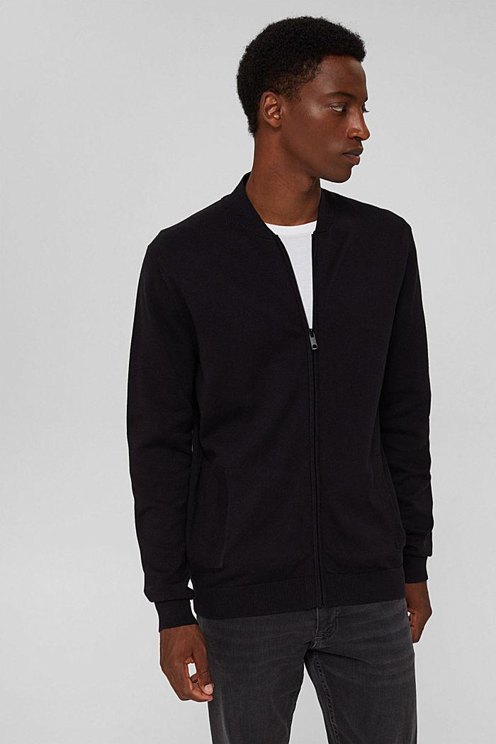 Zip cardigan made of 100% organic cotton, BLACK, detail image number 0