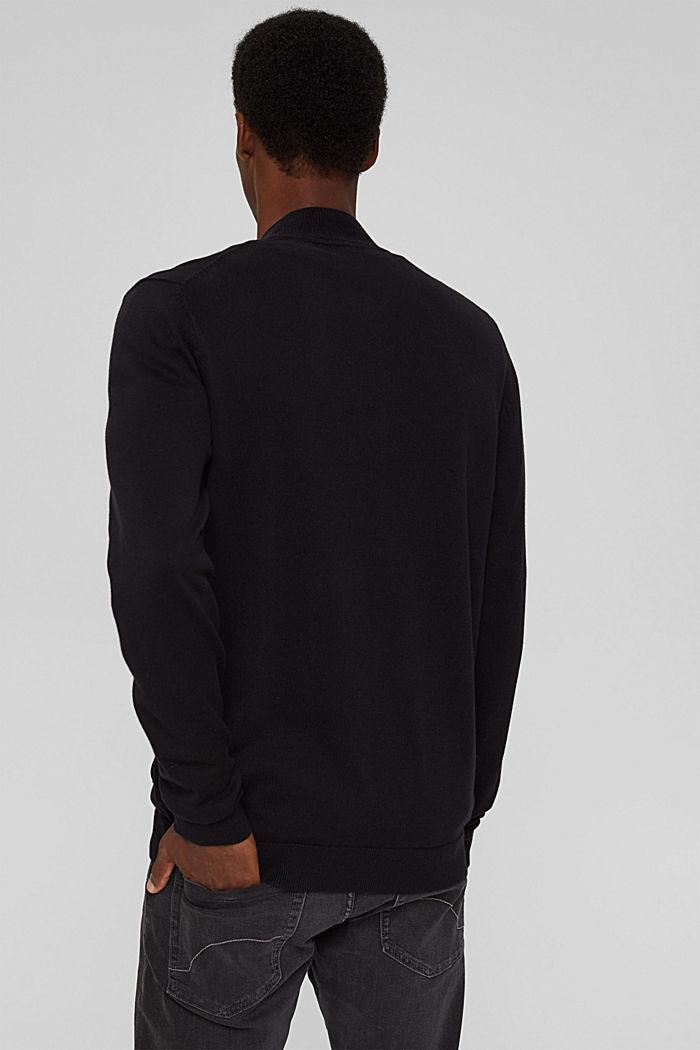 Zip cardigan made of 100% organic cotton, BLACK, detail image number 3