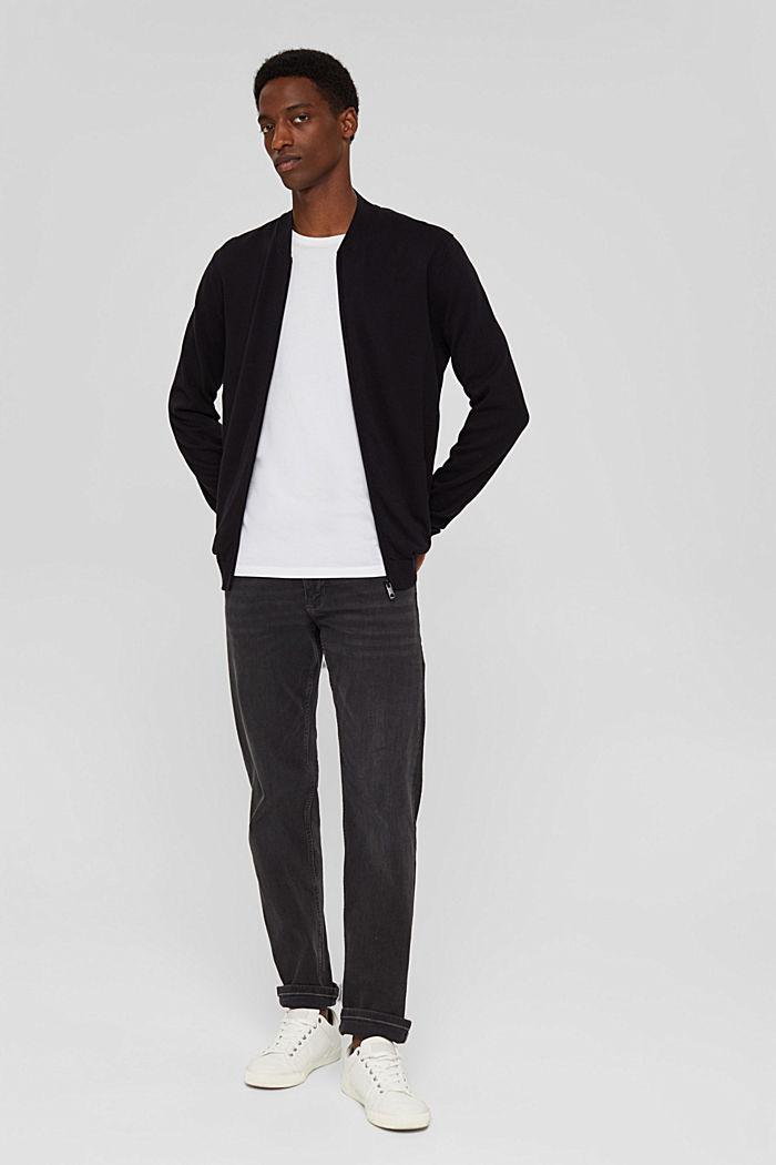 Zip cardigan made of 100% organic cotton, BLACK, detail image number 1