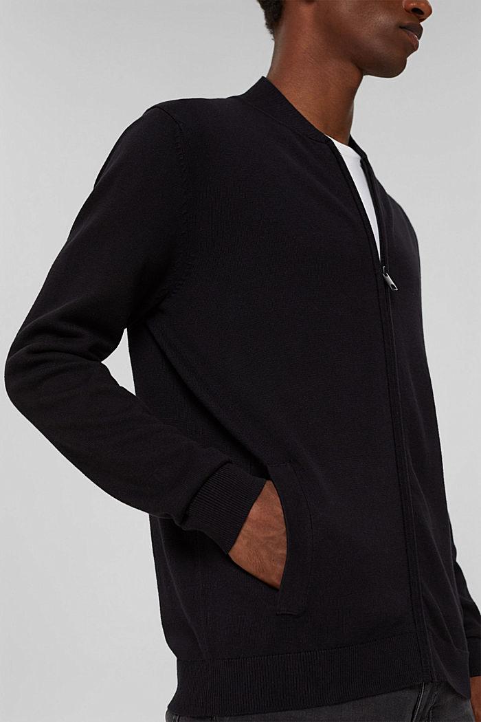 Zip cardigan made of 100% organic cotton, BLACK, detail image number 2